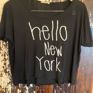 Pre-loved Hello New York/Goodbye LA crop top.